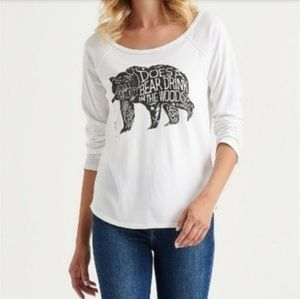 Lucky Brand Does A Bear Drink Rose 3/4 Sleeve Top